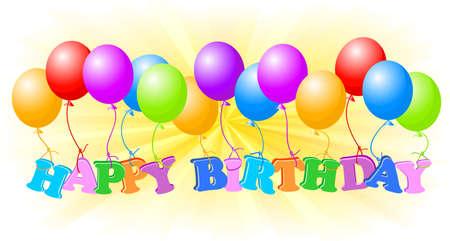 Happy birthday with color balls