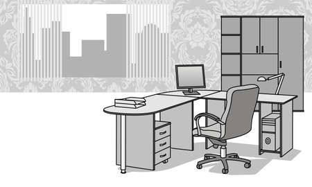 working in office: Interior with office furniture Illustration