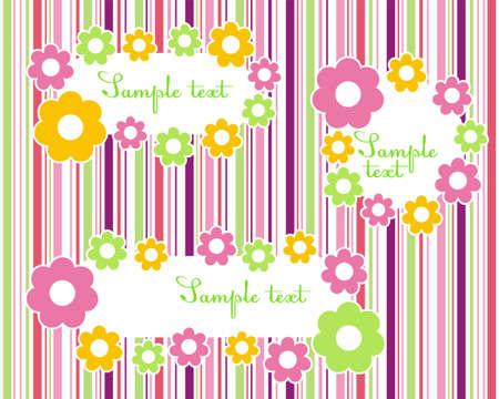 Floral frames on a striped color background Illustration