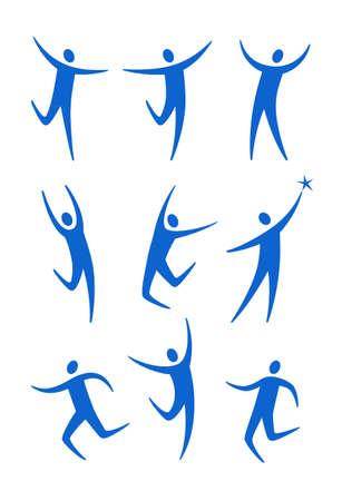 set of stylized blue figures