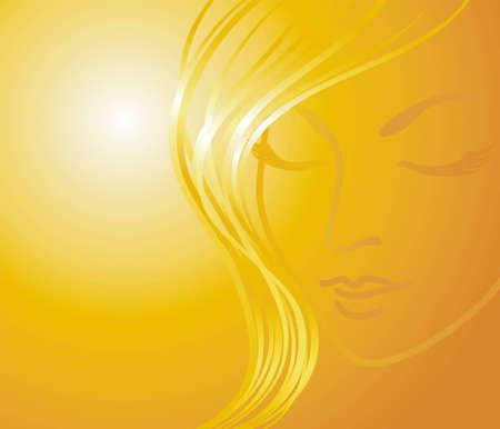 stylized blonde on a golden background