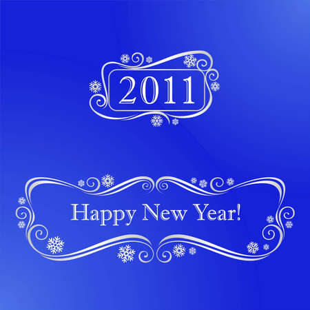 Elements for New Year�s design on a blue background Illustration