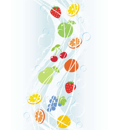 Falls of fruit with bubbles and drops Illustration