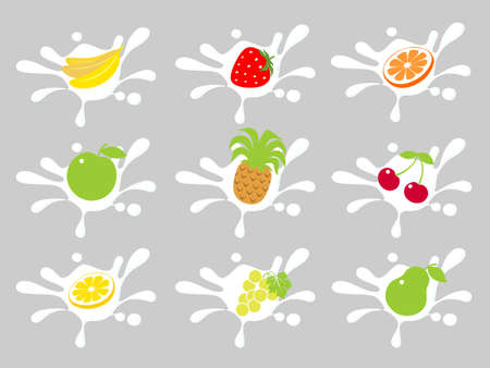 Collection from different fruit in creams