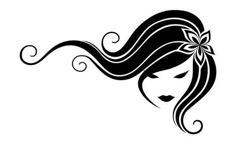 long black hair: Head of the girl with long hair on a white background