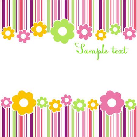 bordures fleurs: Composition de fleurs horizontale des bandes de couleurs diff�rentes