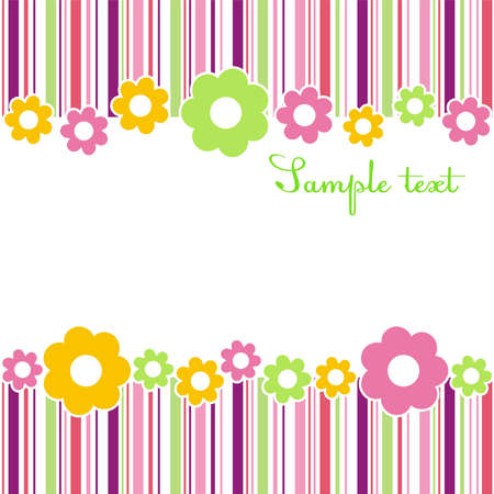 simple frame: Horizontal flower composition with strips of different colors