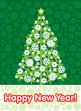 tonality: New Year tree with an inscription on a green background