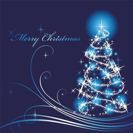 Stylized Christmas fur-tree on a dark blue background Illustration