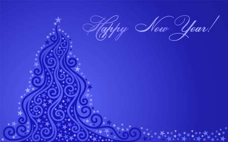 tonality: Shone New Year tree on a dark blue background