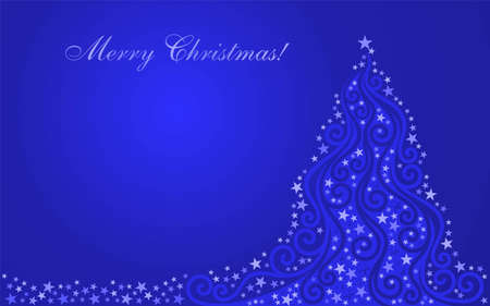Shone stylized Christmas fur-tree on a dark blue background Illustration