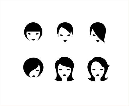girl short hair: Collection of six hairstyles on a white background Illustration
