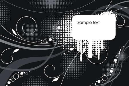 tonality: White border on a grunge black background Illustration