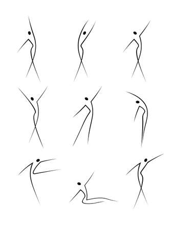 abstract dance: Abstract female figures in movement Illustration