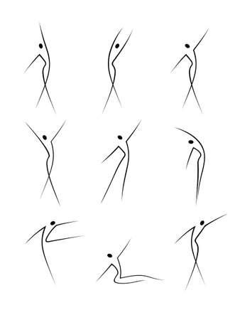 fitness danse: R�sum� des figures f�minines en mouvement Illustration