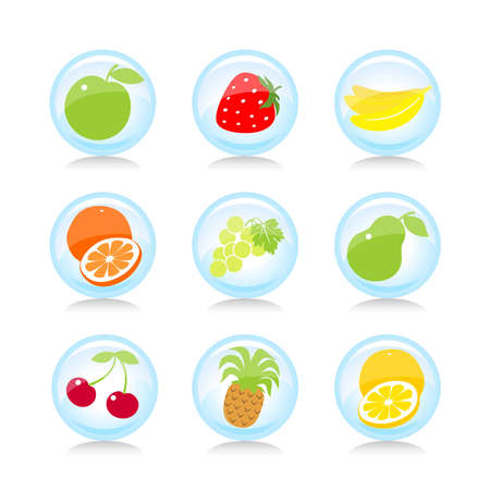 Set of the isolated fruit buttons