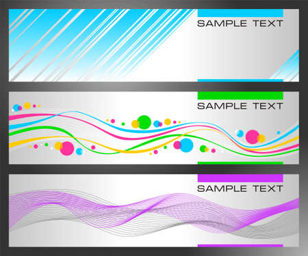 Set of horizontal abstract banners on a dark background Illustration