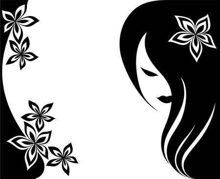 Background with flowers and a head of the girl with long hair