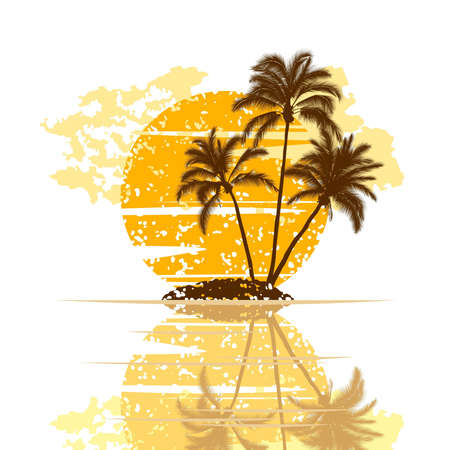 island isolated: Sunset on island with palm trees on a white background