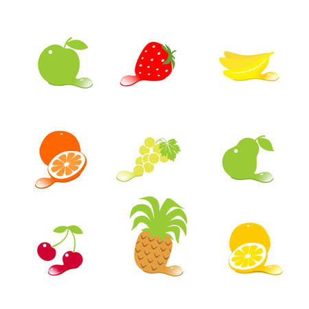 Fruit and berries with drops Vector