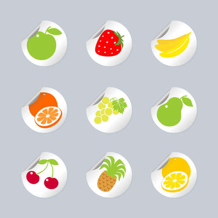 Stickers, labels with fruit and berries