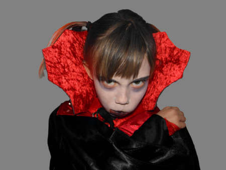 exempted: Picture of a girl who is dressed up as a vampire  Exempted person  Stock Photo