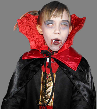 vampire teeth: Picture of a girl who is dressed up as a vampire  Exempted person  Stock Photo