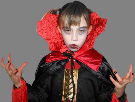 play acting: Picture of a girl who is dressed up as a vampire  Exempted person  Stock Photo