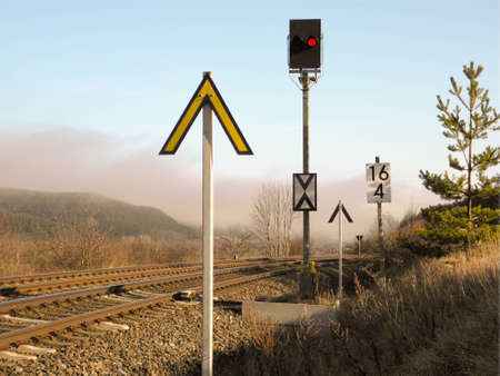 an evacuation signalling system of the railway, which is red Stock Photo - 12750100