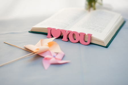 part of me: Handmade pink wooden letters I Love You  on a table. Blurred two pinwheels book in the background. Focus on wooden letters. Foto de archivo