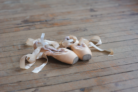 animal practice: Used pointe shoes on old  wooden floor in dance studio. Concept of classical ballet and modern dance. Shot close-up.