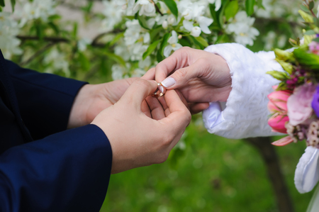 day flowering: Groom and bride holds wedding ring. Wedding and honeymoon concept. Wedding day. Focus on hand and ring. Blossoming, flowering branch on background. outdoors. Stock Photo