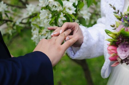 day flowering: Groom and bride holds wedding ring. Wedding concept. Bride gives an engagement ring to her groom. Wedding day. Focus on hand and ring. Blossoming, flowering branch on background. outdoors.