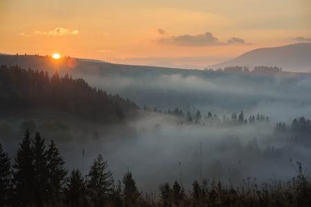 山の朝。夜明けのカルパティア山脈。 写真素材