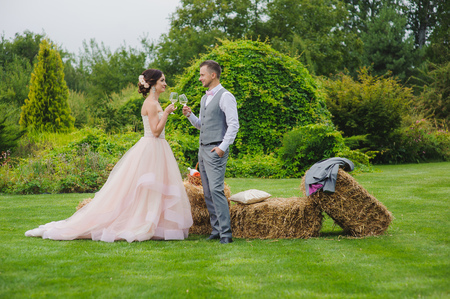 Clinking glasses. Bride and groom make toast. Grass, bale of hay trees and bushes in the background. Stock Photo