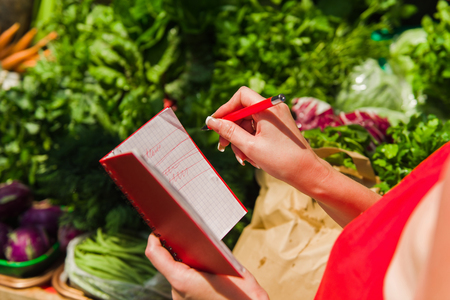 A woman crosses out purchases from shopping list. Girl with a notebook in hands. Stock Photo