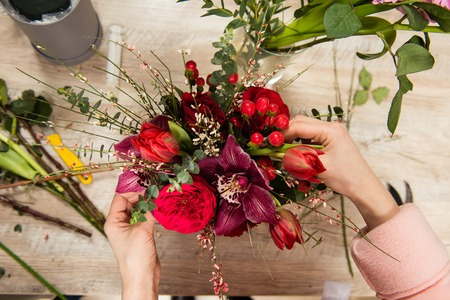 View from above of female hands with beautiful flower Stock Photo