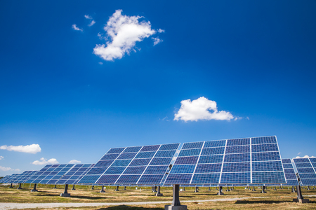 Close up rows array of polycrystalline silicon solar cells in solar power plant