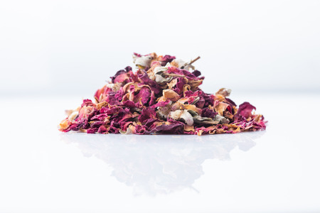 Rose flower dry tea isolated on a white background, close-up. Reklamní fotografie