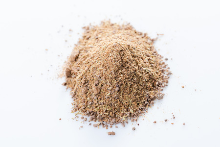 Diademe noir. Close-up of Galician crown Coffee spices blend on white background. View from above.