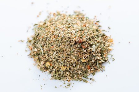 Close-up of american citrus spices blend on white background. View from above.