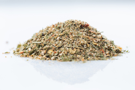 Close-up of american citrus spices blend on white background