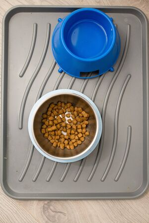 Clean tray with dog pet granulated dry food and water drink top view in metal and blue plastic deep big bowl