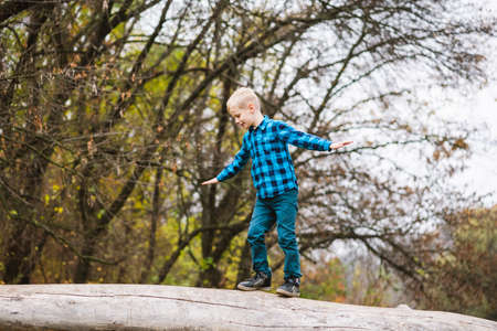Blonde active boy in casual outfit stand on old wood and spread arms, happy childhood outdoors at autumn forest background