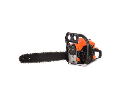 Sawyer instrument, gas petrol clean modern chainsaw close up, side view, for cut out, catalog, advertisement Banco de Imagens