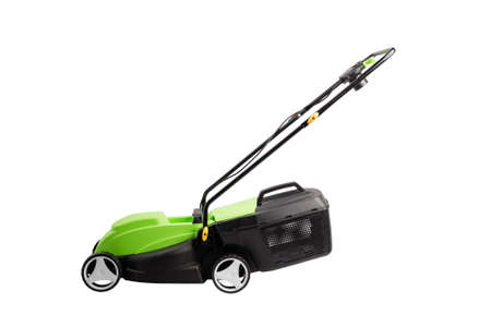 Cutting grass gardening tool, new lawn mower machine at studio isolated white background for cut out Banco de Imagens