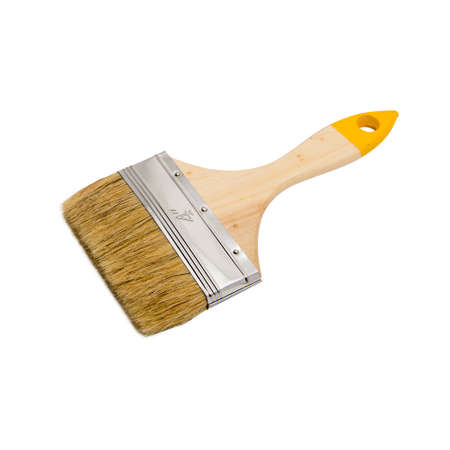 New clean wooden brush with natural bristles for painting wall, furniture during repairment, renovation at white isolated background Banco de Imagens