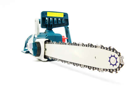 Electric chainsaw isolated on white background Banco de Imagens