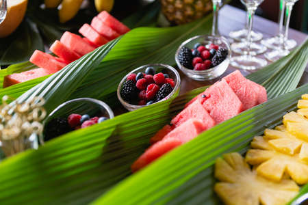 Close up berries and fruits on buffet