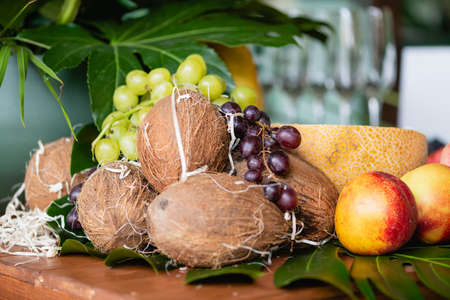 Hotel buffet fruits at table close up
